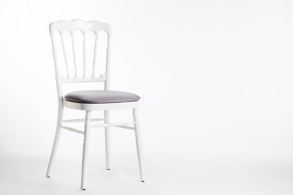 Chaise Grise Et Blanche.Chaise Napoleon Blanche Assise Grise
