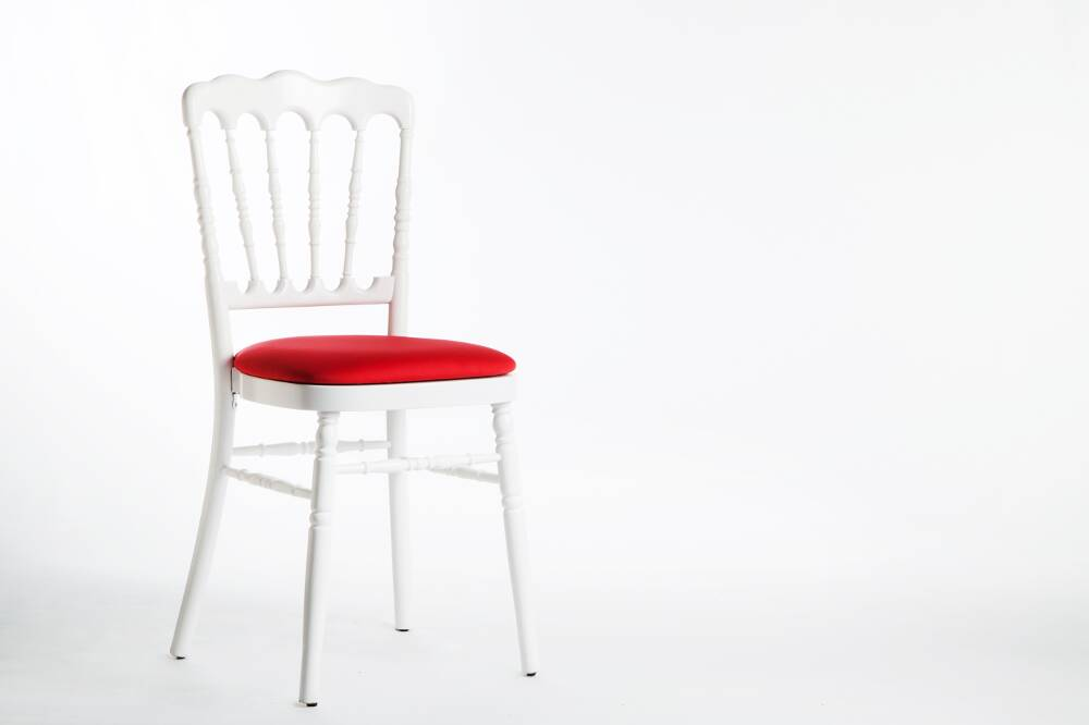 Chaise Napolon Blanche Assise Rouge